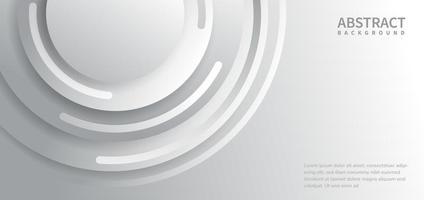 fond abstrait blanc et gris avec des lignes de cercles courbes se chevauchant avec un espace de copie pour le texte vecteur