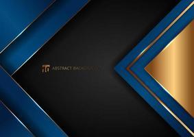 couches de chevauchement géométrique bleu élégant abstrait avec ligne dorée à rayures et éclairage sur fond noir. vecteur