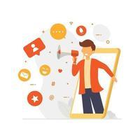 concept de conception d'influenceur de médias sociaux pour obtenir l'engagement vecteur