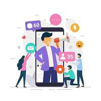 Concept de design d'influenceur de médias sociaux montrant des personnes apportant des goûts et des réactions pour obtenir un engagement vecteur