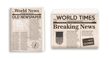 ancienne mise en page de journal. maquette verticale et horizontale de journaux isolés sur fond blanc.