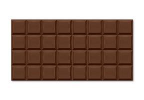 illustration réaliste de la barre de chocolat brun avec des tranches rectangulaires.