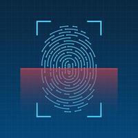 numérisation des empreintes digitales sur l'illustration vectorielle écran vecteur
