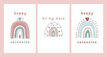 carte de la saint valentin note de dédicace lettre d'amour conception de dessin animé scandinave mignon