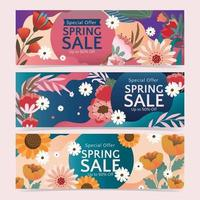offrir une vente de printemps avec oranement floral vecteur