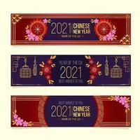Bannières du nouvel an chinois 2021 vecteur