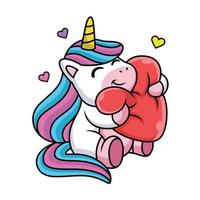 dessin animé mignon licorne heureux avec amour vecteur