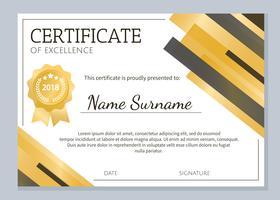 Modèle de certificat d'excellence Or vecteur
