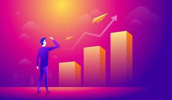 homme d'affaires en regardant un avion en papier sur la flèche graphique croissante. gens d'affaires à la recherche de nouvelles opportunités vecteur