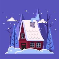 cabane dans les bois couvertes de flocon de neige vecteur