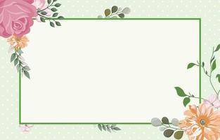 fond de fleur verte avec bordure verte vecteur