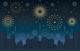 célébration de feux d'artifice du nouvel an avec paysage de nuit vecteur