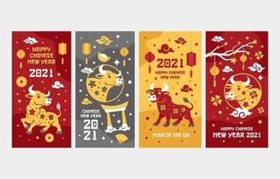 bœuf d'or cartes de voeux de nouvel an chinois vecteur