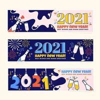 bannières colorées du nouvel an 2021 vecteur