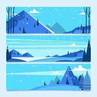 montagne bleue luxuriante jonchée de flocons de neige vecteur