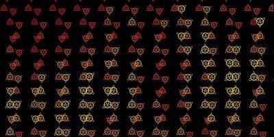 toile de fond de vecteur orange foncé avec des symboles mystérieux.