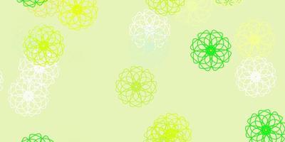 modèle de doodle vecteur vert clair, jaune avec des fleurs.