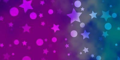 modèle vectoriel rose clair, bleu avec des cercles, des étoiles.