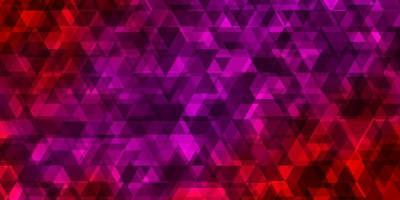 toile de fond de vecteur rose clair, rouge avec des lignes, des triangles.
