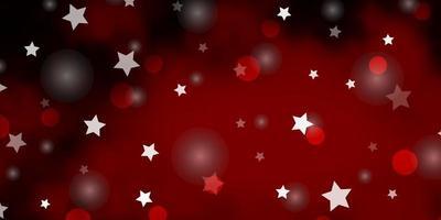 fond de vecteur rouge foncé avec des cercles, des étoiles.