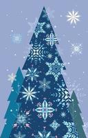 flocon de neige avec une silhouette d'arbre de Noël vecteur