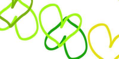 texture de vecteur vert clair, jaune avec de beaux coeurs.