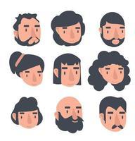 les gens font face à un ensemble d'avatar vecteur
