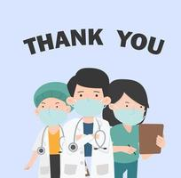 message de remerciement aux médecins et à l'infirmière avec des masques faciaux