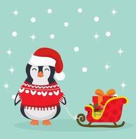 mignon pingouin de noël avec traîneau vecteur