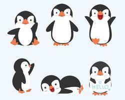 mignon petit pingouin pose collection de vecteurs