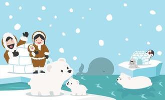 fond de vecteur animaux pôle nord