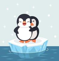 mignon, pingouins, couple, étreindre, sur, glace, vecteur