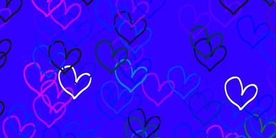 texture de vecteur rose clair, bleu avec de beaux coeurs.