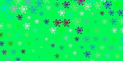 toile de fond de vecteur rose clair et vert avec symboles de virus.