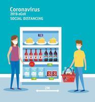campagne de distanciation sociale pour covid 19 en supermarché vecteur