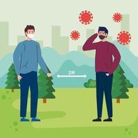 campagne de distanciation sociale pour covid 19 avec des hommes en paysage vecteur