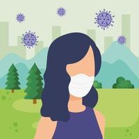 Jeune femme à l'aide d'un masque facial avec des particules covid 19 en paysage