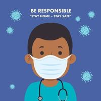campagne de rester responsable à la maison avec un ambulancier utilisant un masque facial vecteur