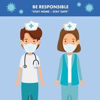 campagne de rester responsable à domicile avec les infirmières de groupe