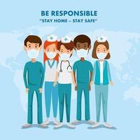 campagne de rester responsable à domicile avec le personnel médical