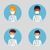 Médecins du groupe utilisant l'icône isolé de masque facial vecteur