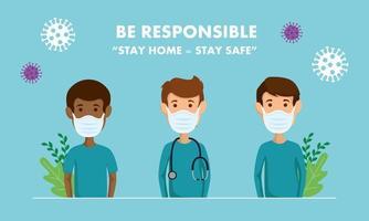 campagne de rester responsable à la maison avec les ambulanciers utilisant un masque facial vecteur