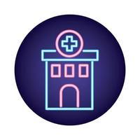 icône de style néon bâtiment hôpital