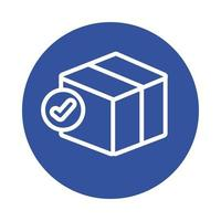 boîte avec style de bloc de service de livraison de symbole de chèque