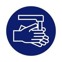 laver les mains avec l'icône de style de bloc de robinet