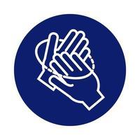 lavage des mains icône de style bloc circulaire