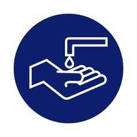 lavage à la main avec robinet et bloc goutte vecteur