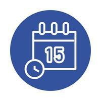 calendrier et montre icône de style de bloc