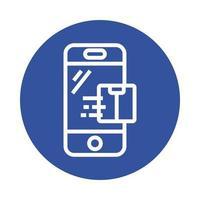 boîte dans le style de bloc de service de livraison de smartphone