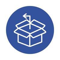 style de bloc de service de livraison boîte et flèche